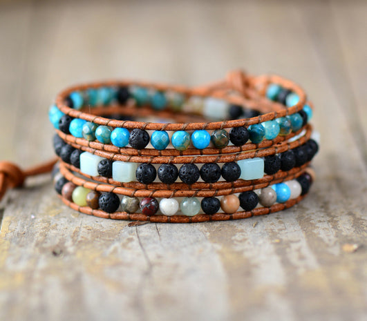 Lava and Stone Triple Wrap | Diffuser Bracelet