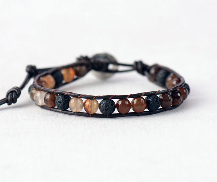 Earth Tones on Black | Diffuser Bracelet