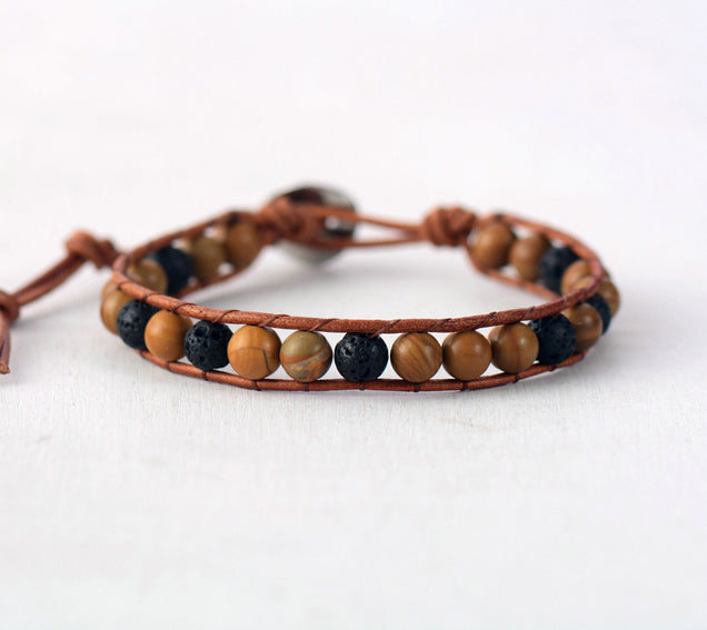 Earth Tones on Tan | Diffuser Bracelet