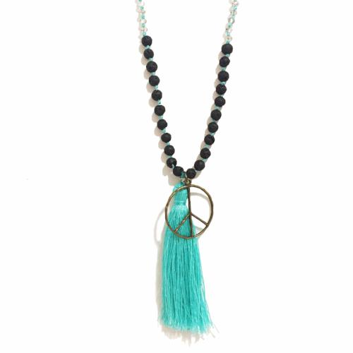 Peace Tassel | Lava Stone Diffuser Necklace