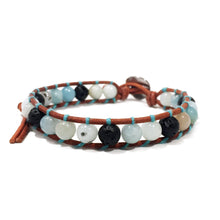 Ice Blue Stone on Tan | Diffuser Bracelet