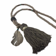 Gray Tassel with Feather Charm | Lava Stone Diffuser Necklace