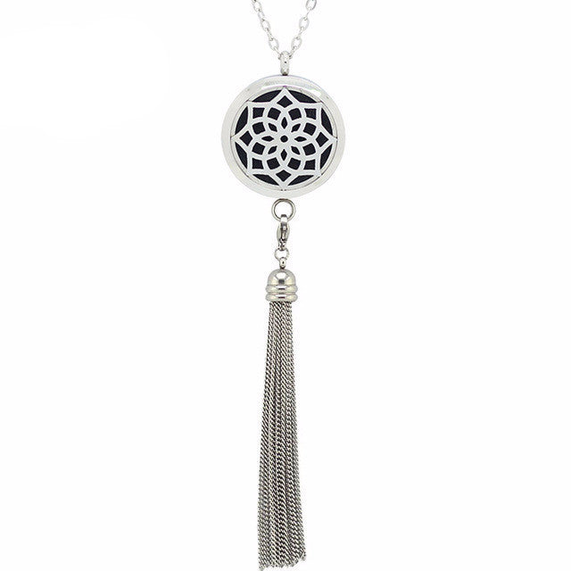Geometric Flower Design | Stainless Steel Diffuser necklace