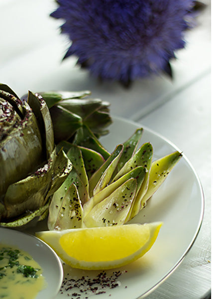 Steamed artichoke with lemon-mustard vinaigrette