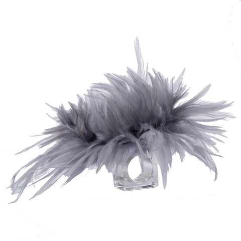 Large Grey Feathered Napkin Ring by Julian Mejia