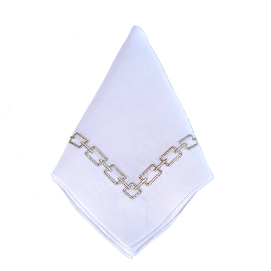 Silver Links White Linen Napkin by Julian Mejia