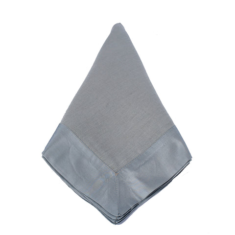 Silver Linen Napkin with Tafetta Wide Band