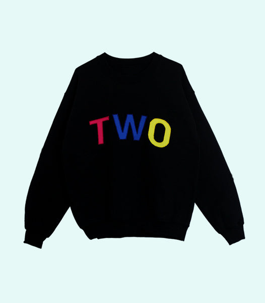 TWO APPLIQUÉ SWEATSHIRT | BLACK