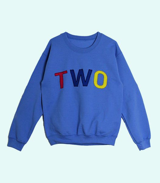 TWO APPLIQUÉ SWEATSHIRT | BLUE