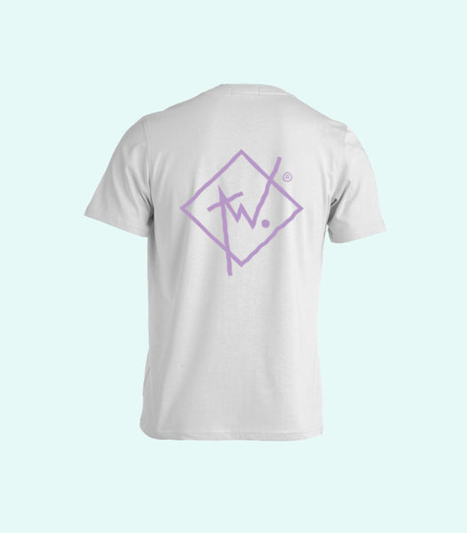 TWO DIAMOND LOGO TEE | WHITE AND PURPLE