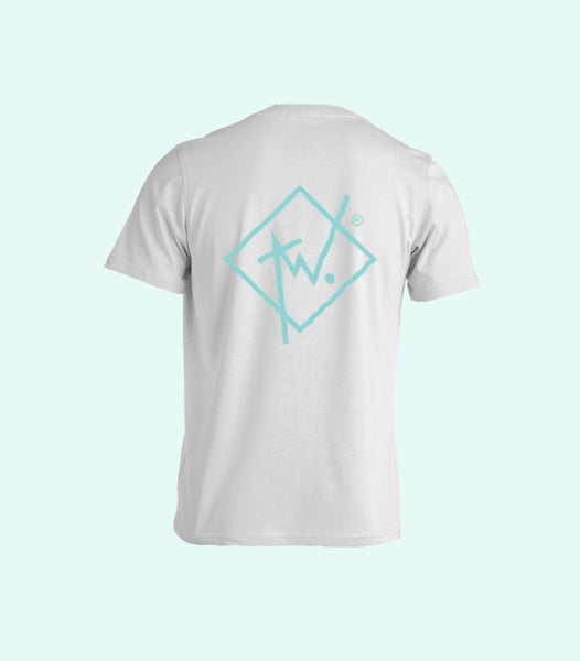 TWO DIAMOND LOGO TEE | WHITE AND MINT GREEN