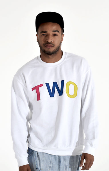 TWO APPLIQUÉ SWEATSHIRT | WHITE