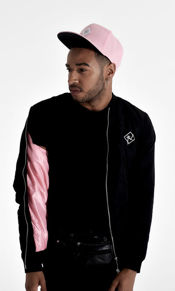 TWO SIGNATURE BOMBER | BLACK AND PINK