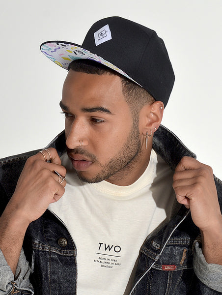 TWO THROWBACK SNAPBACK HAT | BLACK AND MIXED COLOUR