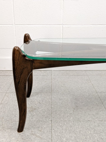 Glass top walnut coffee table