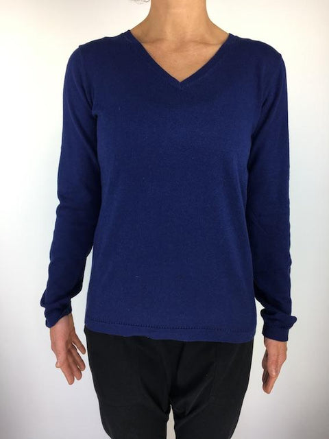Caroline Grace Basic V Neck Jumper - Midnight