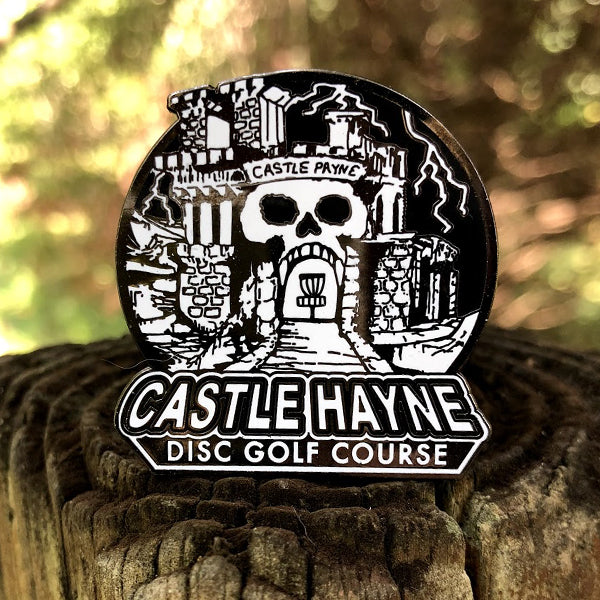 Castle Hayne Disc Golf Pin - Castle Gray Skull (WHITE)