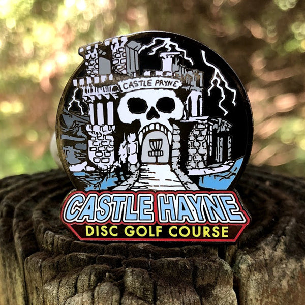 Castle Hayne Disc Golf Pin - Castle Gray Skull (COLOR)