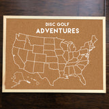 Disc Golf Pins Cork Board - ALL 50 STATE PINS INCLUDED