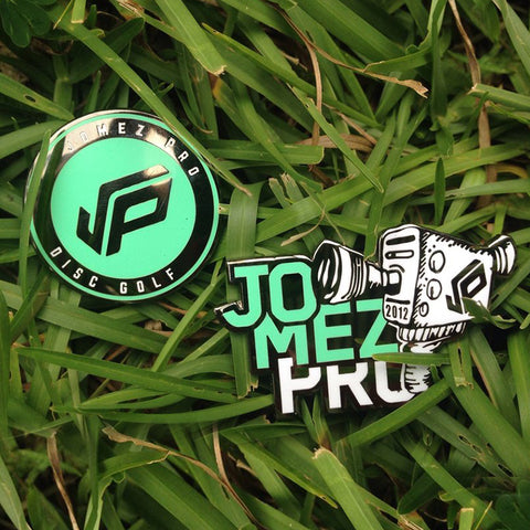 JOMEZ Disc Golf Pins - Logo & Camera - 2 pins