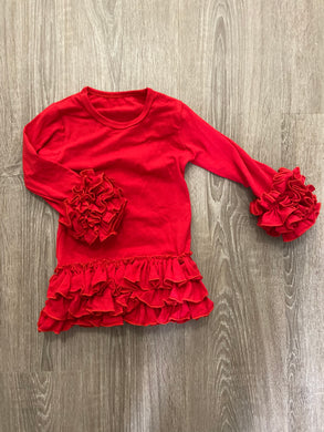 Red Ruffle Layering Top