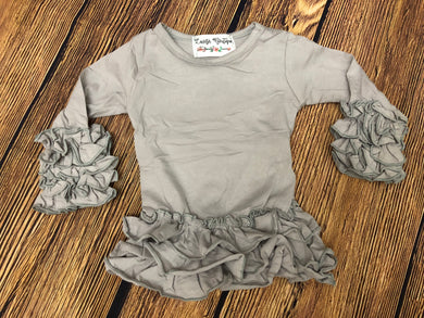 Light Grey Ruffle Top