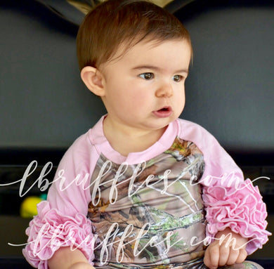 Camouflage and Pink Ruffle Sleeve Raglan