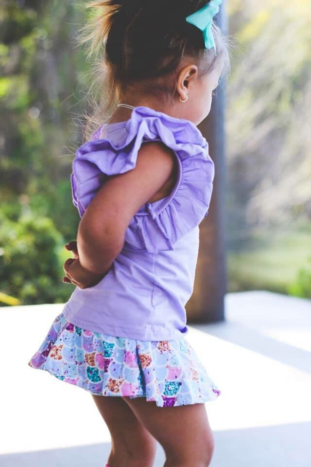 Lavender Ruffle Shoulder Top