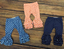 Navy Polka Dot Ruffle Pants