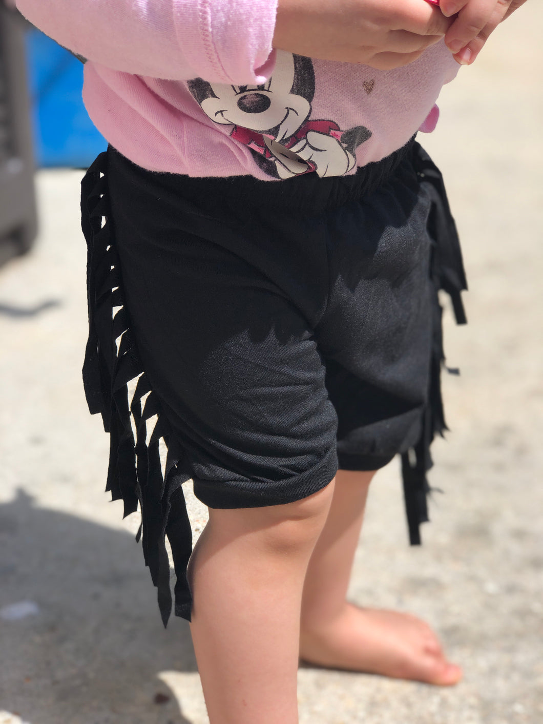 Black Fringe Shorts