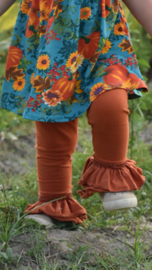 Burn orange ruffle pants