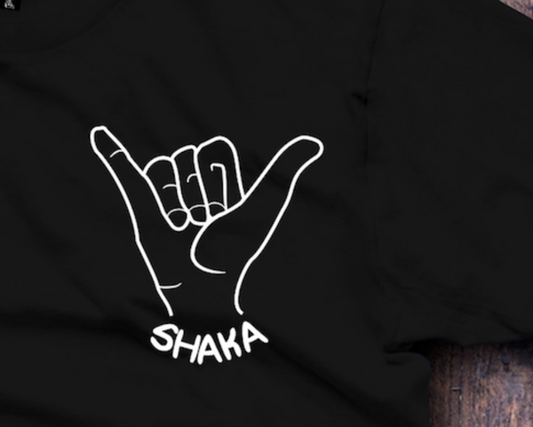 Hang 10 (Shaka) Black T-Shirt - Fresh Baked Threads