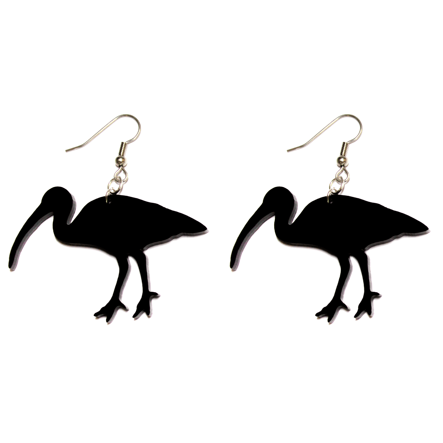 Hand Made Black Bin Chicken Ibis Earrings Acrylic - Sparrow & The Bear