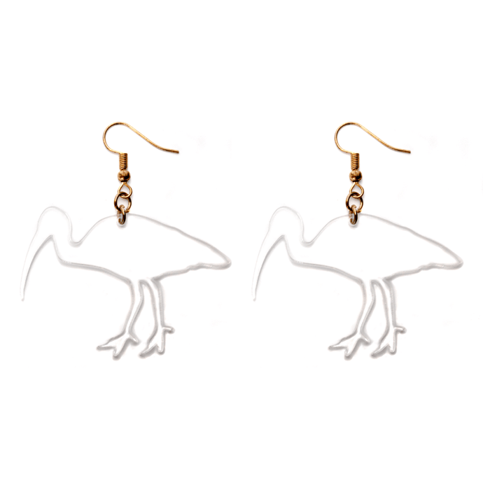Hand Made Clear Bin Chicken Ibis Earrings Acrylic - Sparrow & The Bear