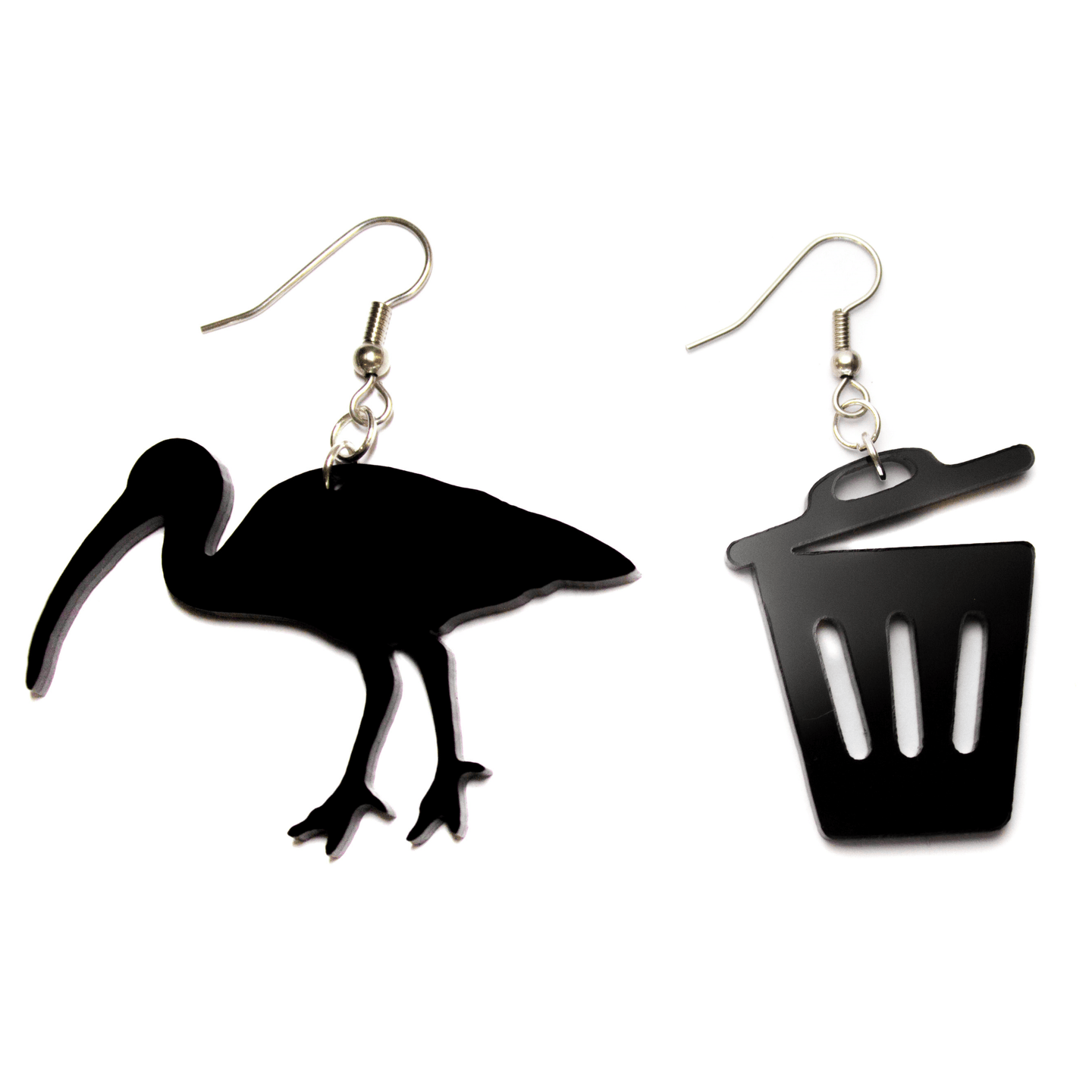 Hand Made Black Bin Chicken and Bin Earrings Acrylic - Sparrow & The Bear