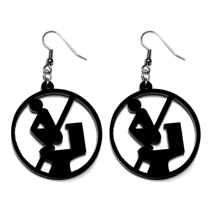 Hand Made Black No Squatting Toilet Sign Earrings Acrylic - Sparrow & The Bear