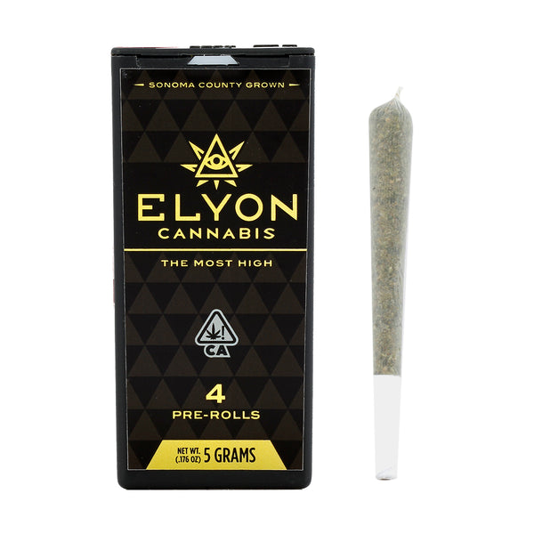 Elyon Cannabis - 4 Pack Prerolls - 5g - Gelato - Anytime - 22.24%