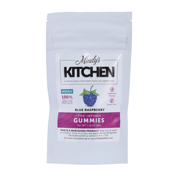 Blue Raspberry Gummies Mindy's Kitchen edible indica 10servings 100.02% 292}