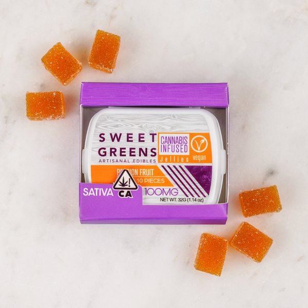 Sweet Greens - Vegan Jellies - Passion Fruit - 100mg - Sativa