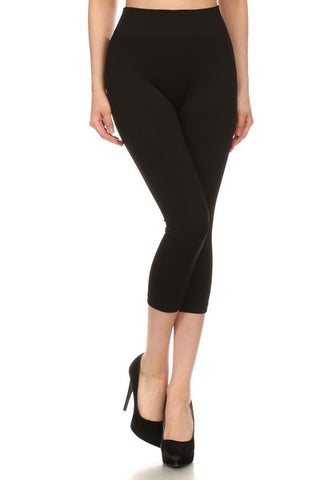 Black Capri Length Leggings - Plus (One Size)