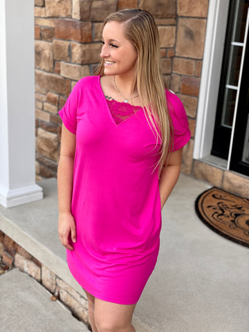 Dani Pocket Dress - Fuchsia