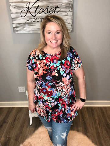 Spring Floral Cross Back Tunic
