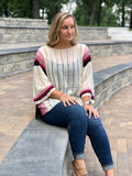 Blanca Striped Sheer Knit Sweater