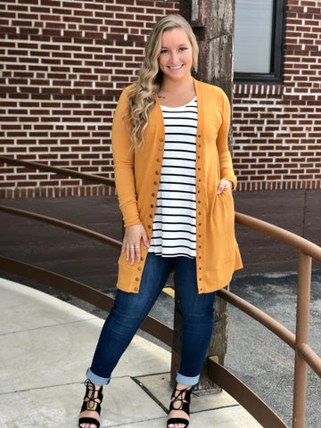 Mustard Long Snap Cardigan
