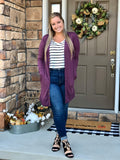 Eggplant Long Snap Cardigan