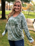 Molly Tie Dye Drop Shoulder Top - Curvy