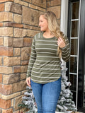 Back to Basics Olive Stripe Top