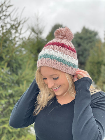 Striped Pom Beanie - Pink