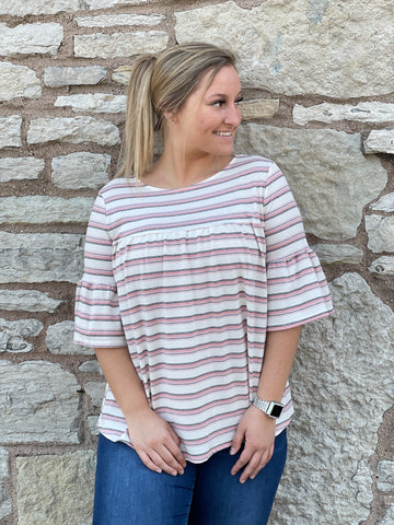 Lauren Blush Striped Bell Sleeve