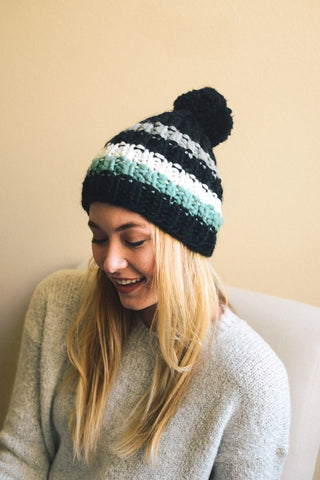Striped Pom Beanie - Black